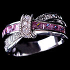 New Women's Corssed Pink Sapphire Diamonique White Gold Filled Decoration Ring