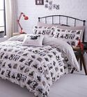 Barking Mad Duvet Quilt Cover Set, Dogs Pug Reversible Single Double King