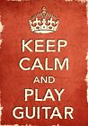 ACR13 Vintage Style Red Keep Calm Play Guitar Music Funny Poster Print A2/A3/A4
