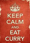 ACR23 Vintage Style Red Keep Calm And Eat Curry Food Funny Poster Print A2/A3/A4