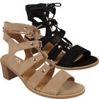 Ladies Gladiator Womens Cut Out Lace Up Mid Wedge Open Toe Heel Sandals Shoes