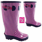Girls Ladies Wellington Boots UK 5 Wide Calf Festival Summer Rain Garden Wellies
