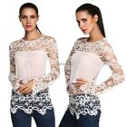 HOT Fashion Women Chiffon Embroidery Lace Crochet Long Sleeve Tee Shirt Tops AU