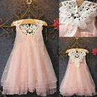 Elegant Baby Girls Party Dress Pearl Lace Tulle Ball Gown Formal Tutu Dress 2-7Y