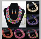 Handmade Jewelry Set Round Crystal Beads Choker Statement Necklace Earrings Set