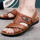 Stylish Men's Cowhide Leather Sandals Slippers Summer Beach Shoes Fisherman