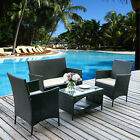 4 PCS Rattan Patio Set Outdoor conversation Set Wicker Sofa with Cushioned Seats