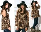 ANIMAL PRINT OFF THE SHOULDER BLOUSE TOP Long Sleeve Bohemian Loose Boho S M L