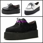 Fashion New Women Faux Suede Punk High Platform Lace Up Flat Creeper Shoes US5-9