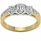 I1/G Huge 1.70Ct Round Diamond Jewelry 14Kt Solid Gold 3 Stone Ring Wedding Band