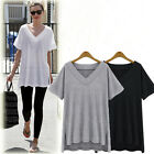 Women Plus new Oversize Loose sexy casual V-neck tops blouse Short sleeve shirts
