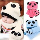 New Cute Korean Panda Pattern Cute Baby Kids Toddler Unisex Warm Hat + Scarf Set