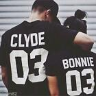 Unisex Couple Romantic Short Sleeve Print Bonnie CLYOD T-shirt Tees Top Blouse Z