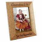Personalised Grandma & Me Wooden Oak Portrait Photo Frame, Engraved Gift