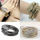 Womens Fashion Jewelry Stretch Punk Rock Bangle Bracelet Black Gold Silver