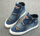 L Stylish Womens Jeans Canvas Hip Pop High Top College Flat Heels Sneakers Shoes