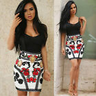 Women Sleeveless Patchwork Bandage Floral Printed Cocktail Clubwear Party Dress