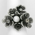 Flower Cocktail Ring Crystal Black Costume Jewel Pearl Summer Party Size 5 6 7 8