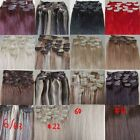 "New Womens AAA+ 15""~22"" Remy Human Hair Extensions Clip In Straight Hair 75g"