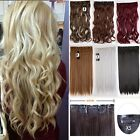 One piece clip in hair extensions wavy 5clips long hair wavy blonde Black MUp6
