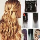 US Full Head Clip in Hair Extensions blonde brown grey ombre hair 8pcs MUs7
