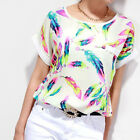 Women T Shirt Feather Chiffon Blouse Casual Tops Short Sleeve Loose Summer Shirt