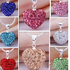 CHIC Crystal Heart 925 Sterling Silver Plated Necklace Jewelry Pendant Chain