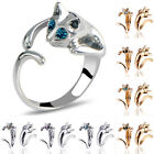 Fashion Lovely Silver Plated Kitten Cute Cats Animals Crystal Eyes Finger Ring