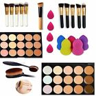 15 Color Concealer Contour Palette + Makeup Brush + Water Sponge Puff Set/Kit  F