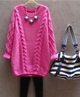 Women Girls Loose Knitted Crewneck Sweater Sleeve Pullover Tops Knitwear S09