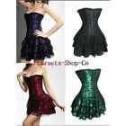 Sexy Lingerie Lace up Boned Lace Overlay Basque Corset MINI Skirt Dress S-2XL