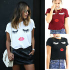 CHIC 2016 Fashion Women Eyelash Lips Short Sleeve Casual Tee T-Shirt Tops Blouse