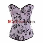 Brocade Pink Floral Wedding Bridesmaid Basque Overbust Lace up Boned Corset Top