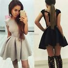 Women Backless Evening Party Cocktail Casual Skater Pleated Mini Skirt Dress