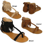 Ladies Fringed Sandals Holiday Summer Tassel Flat Toe Post Buckle Gladiator Shoe