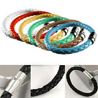 1/7Pcs Women Men Unisex Braided Leather Steel Magnetic Clasp Bracelet Handmade