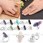 Charm Adjustable Crystal Hexagon Healing Point Chakra Gemstone Beads Finger Ring