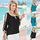 Sexy Women Boho Summer Top Cut Out Shoulder 3/4 Sleeve T shirt Casual Tee Blouse