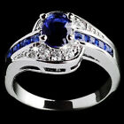 Size 7 8 9 Blue Sapphire Women White Gold Filled Engagement Ring Rings Jewelry image