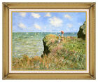 Claude Monet Walk on the Cliff at Pourville Framed Canvas Giclee Art Print Repro