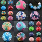 Polymer Clay Pink/Purple/White Floral Flower Print Round Ball Loose Spacer Beads