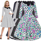 Ladies 50's Vintage Retro Half Sleeves Casual Party Evening Cocktail Swing Dress