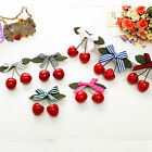 Lovely Women Girl Kids Retro Vintage Pink Bow Cherry Hair Clip Hairpin LA