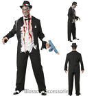 CL904 Zombie Gangster 20s 1920s Halloween Fancy Dress Up Mens Ghost Dead Costume