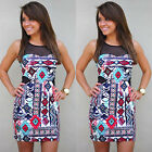 Women's Sexy Summer Bodycon Evening Cocktail Party Sleeveless Floral Mini Dress