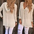 Women Sweater Knitwear Hooded Pullover Jumper Loose Tops Blouse Long Sleeve S-XL