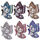 Vintage Butterfly Silver plated Brooch Pin Rhinestone Crystal Women Jewelry