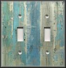 Light Switch Plate Cover - Beach Aged Wood Image Blue - Coastal Home Decor