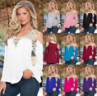 Fashion Ladies Women V-neck Blouse Loose Batwing Lace Long Sleeved Top / T-Shirt