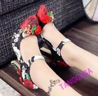 Rhinestones Floral Print Womens Pointed Toe Ankle Straps High Heel Flower Shoes